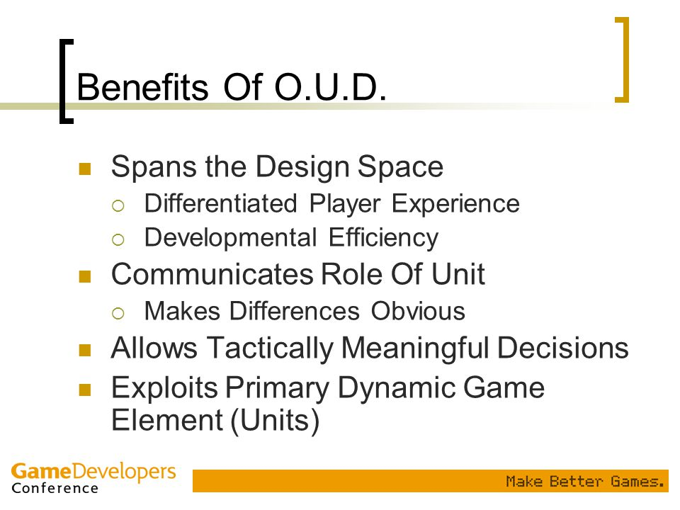 Benefits Of O.U.D. Spans the Design Space Communicates Role Of Unit
