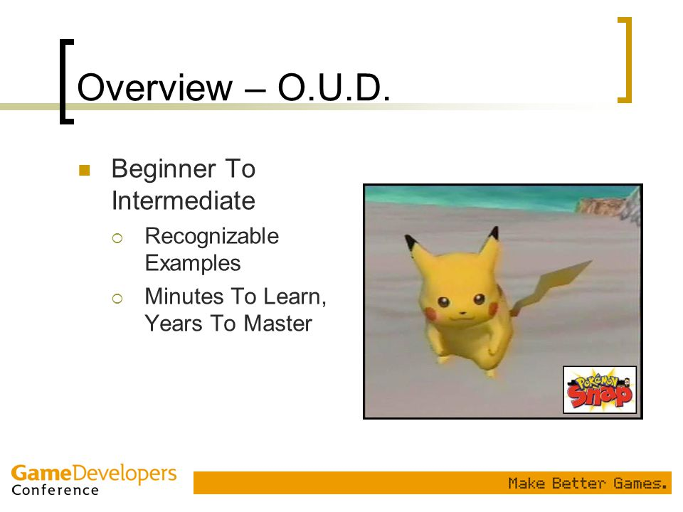 Overview – O.U.D. Beginner To Intermediate Recognizable Examples