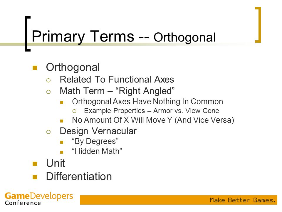 Primary Terms -- Orthogonal
