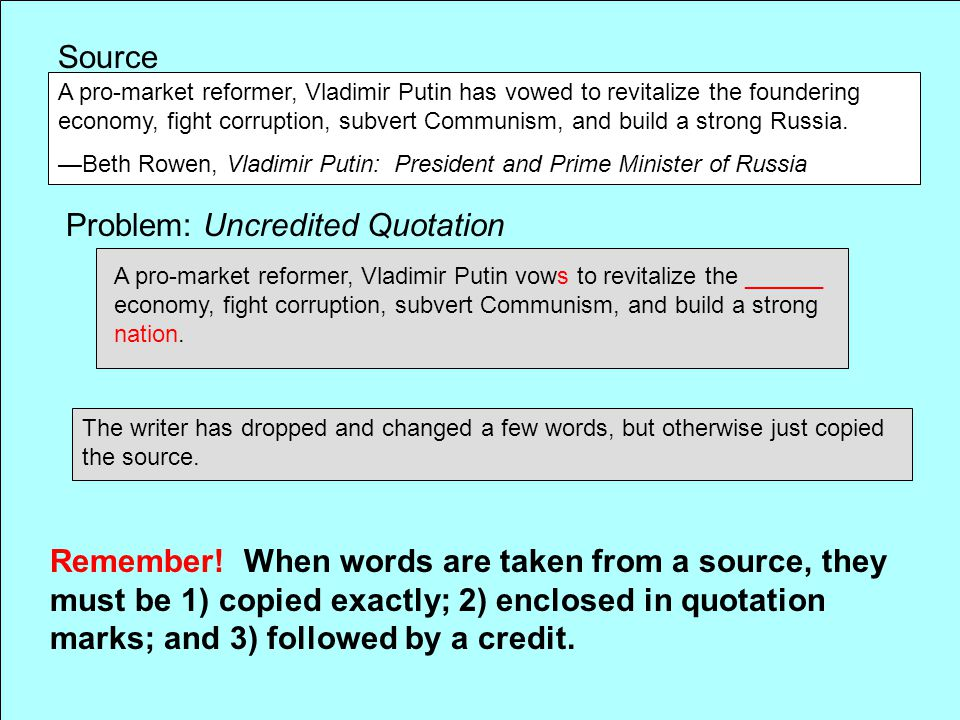 Problem: Uncredited Quotation