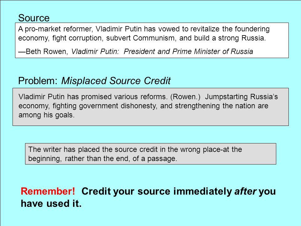 Problem: Misplaced Source Credit
