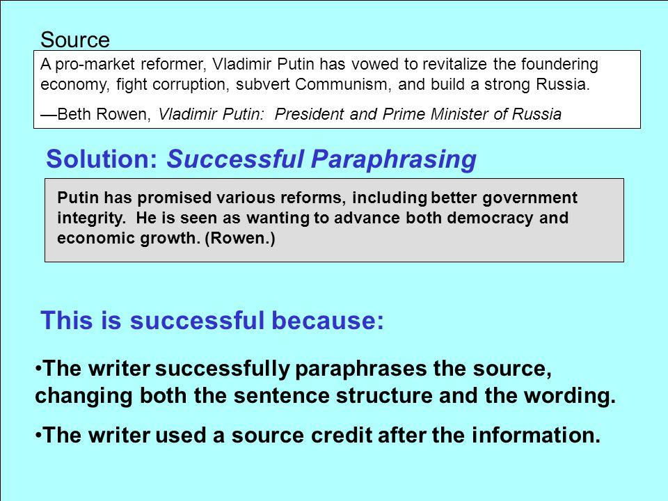 Solution: Successful Paraphrasing