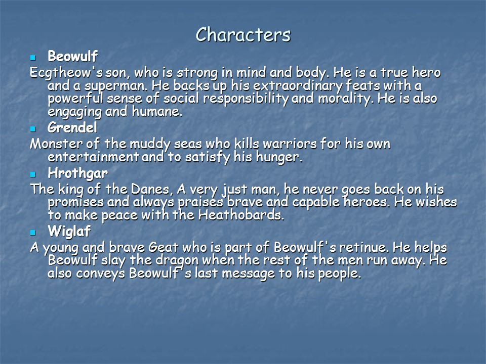Characters Beowulf.