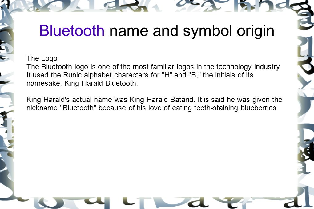 Bluetooth name and symbol origin