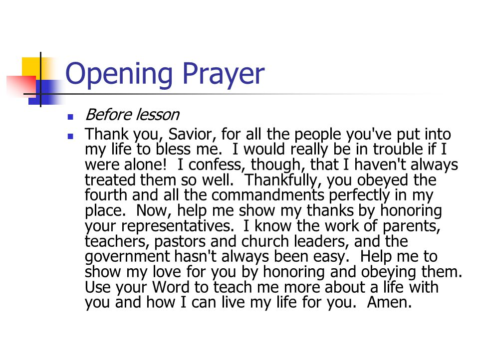 Opening Prayer Before lesson