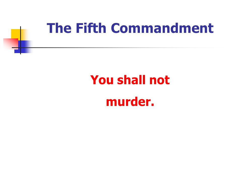 The Fifth Commandment You shall not murder.