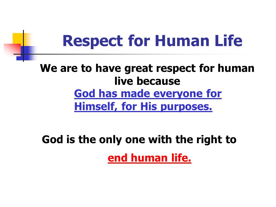We are to have great respect for human live because