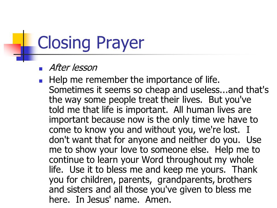 Closing Prayer After lesson