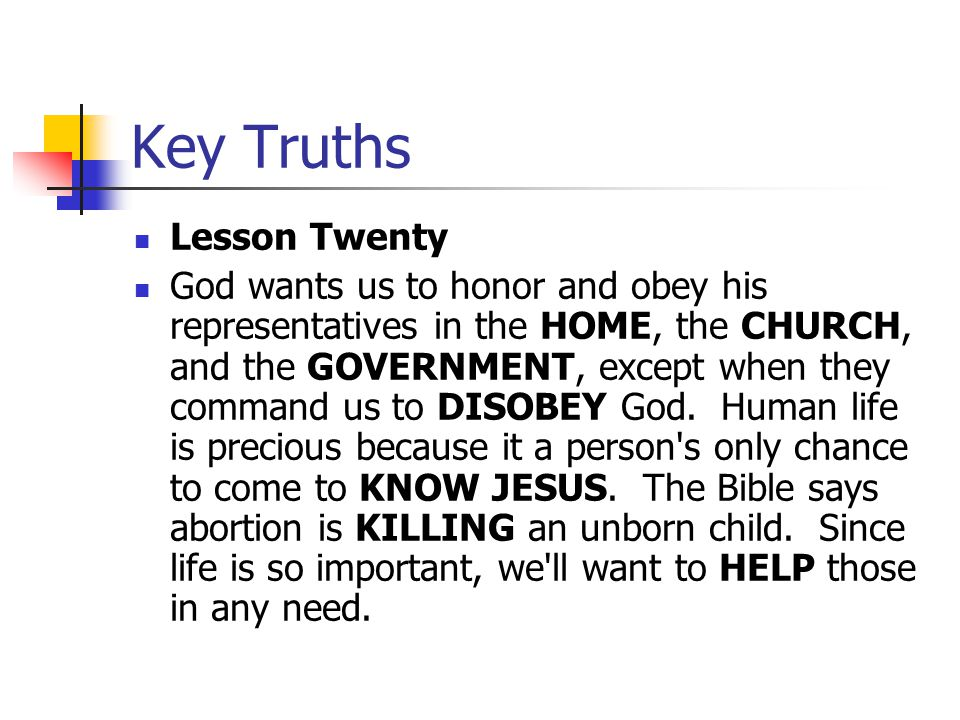 Key Truths Lesson Twenty