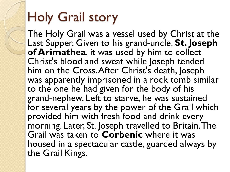 Holy Grail story