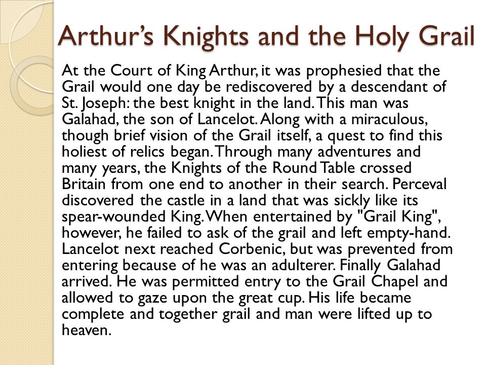 Arthur's Knights and the Holy Grail