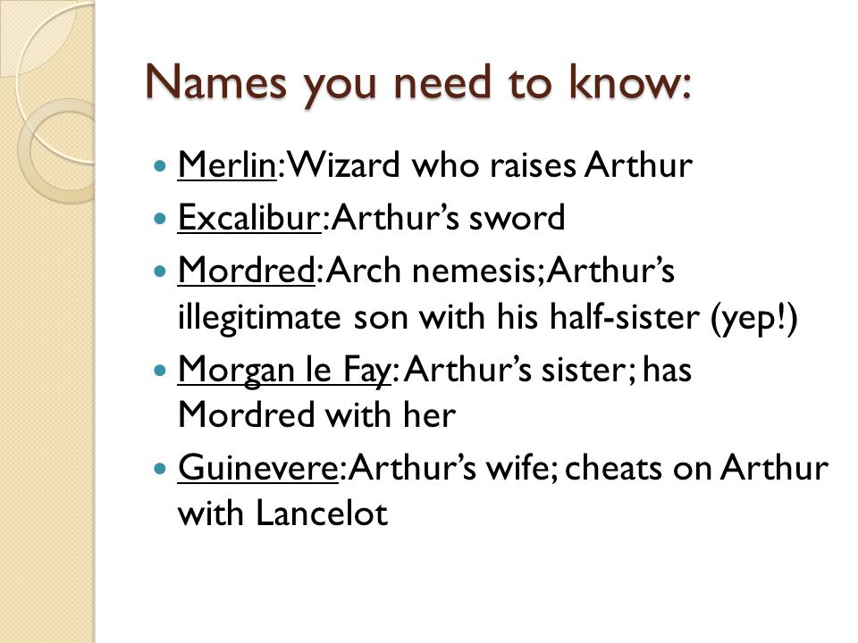 Names you need to know: Merlin: Wizard who raises Arthur