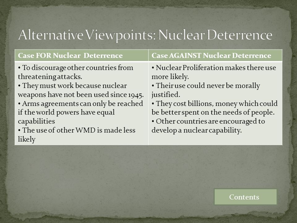 Alternative Viewpoints: Nuclear Deterrence