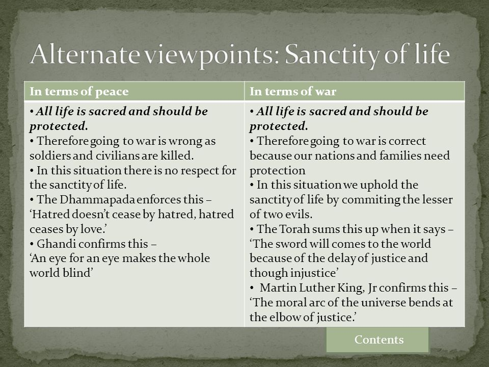 Alternate viewpoints: Sanctity of life