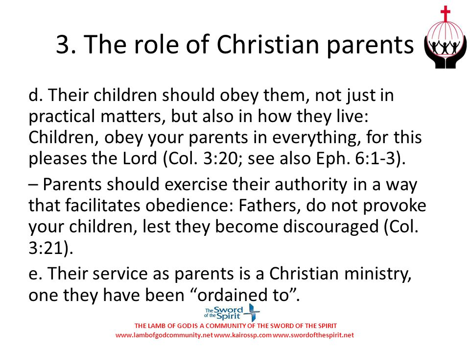 3. The role of Christian parents