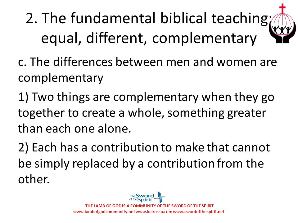 2. The fundamental biblical teaching: equal, different, complementary