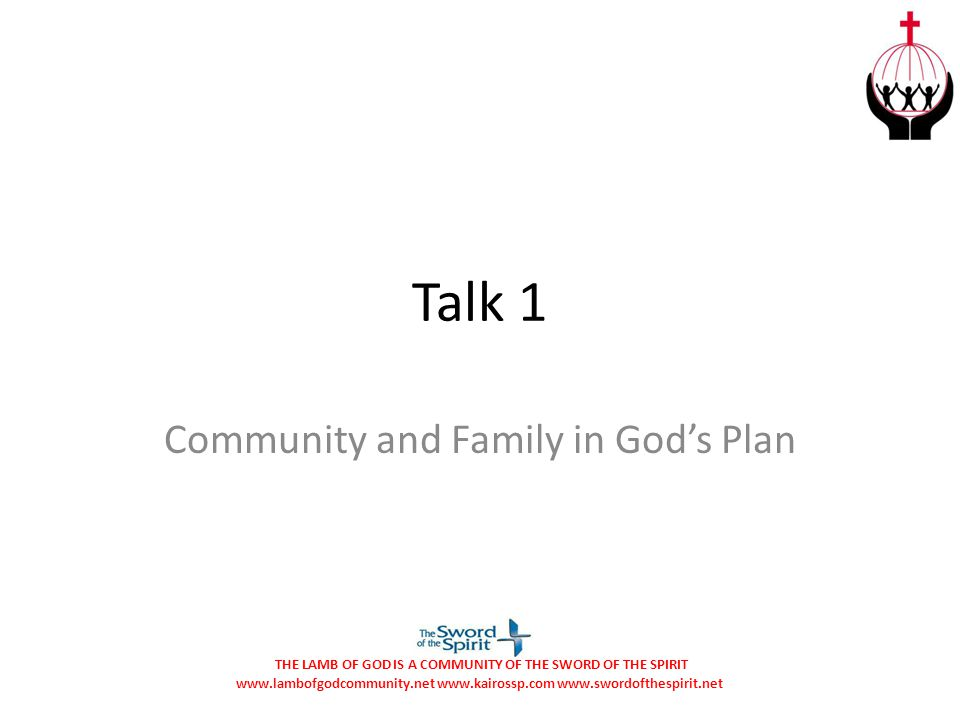 Community and Family in God's Plan