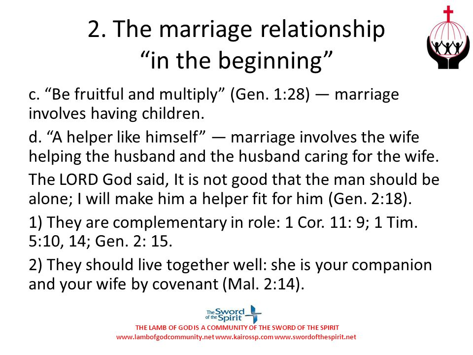 2. The marriage relationship in the beginning