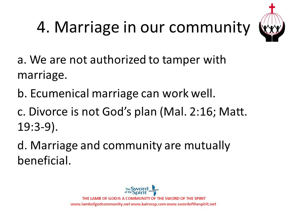 4. Marriage in our community