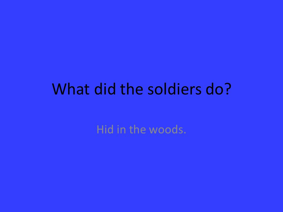 What did the soldiers do