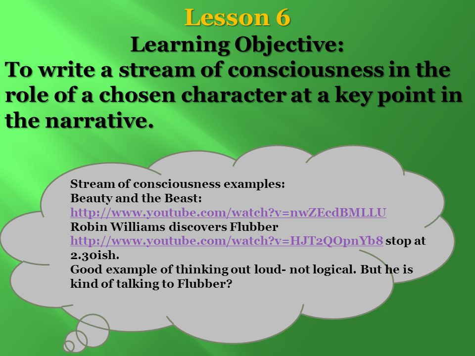 Lesson 6 Learning Objective: