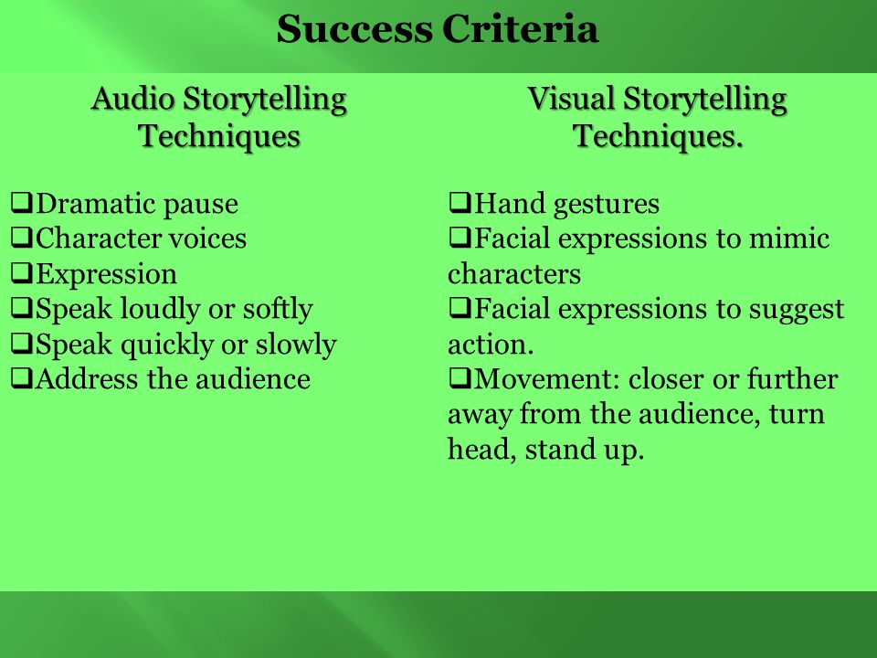 Success Criteria Audio Storytelling Techniques