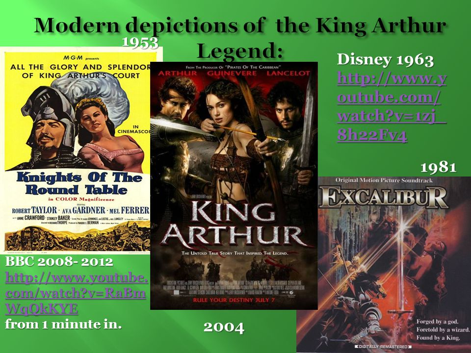 Modern depictions of the King Arthur Legend: