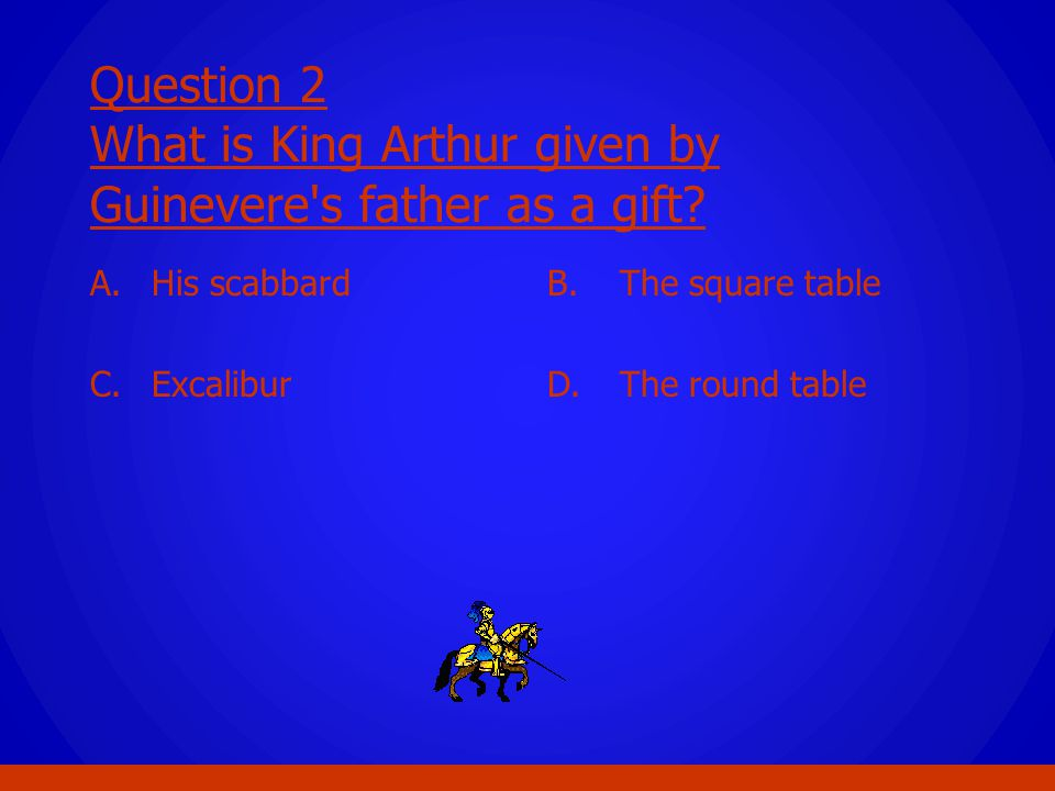 Question 2 What is King Arthur given by Guinevere s father as a gift