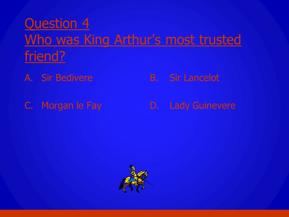 Question 4 Who was King Arthur's most trusted friend