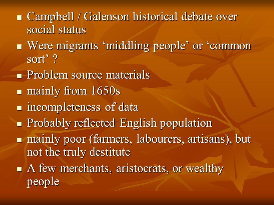 Campbell / Galenson historical debate over social status