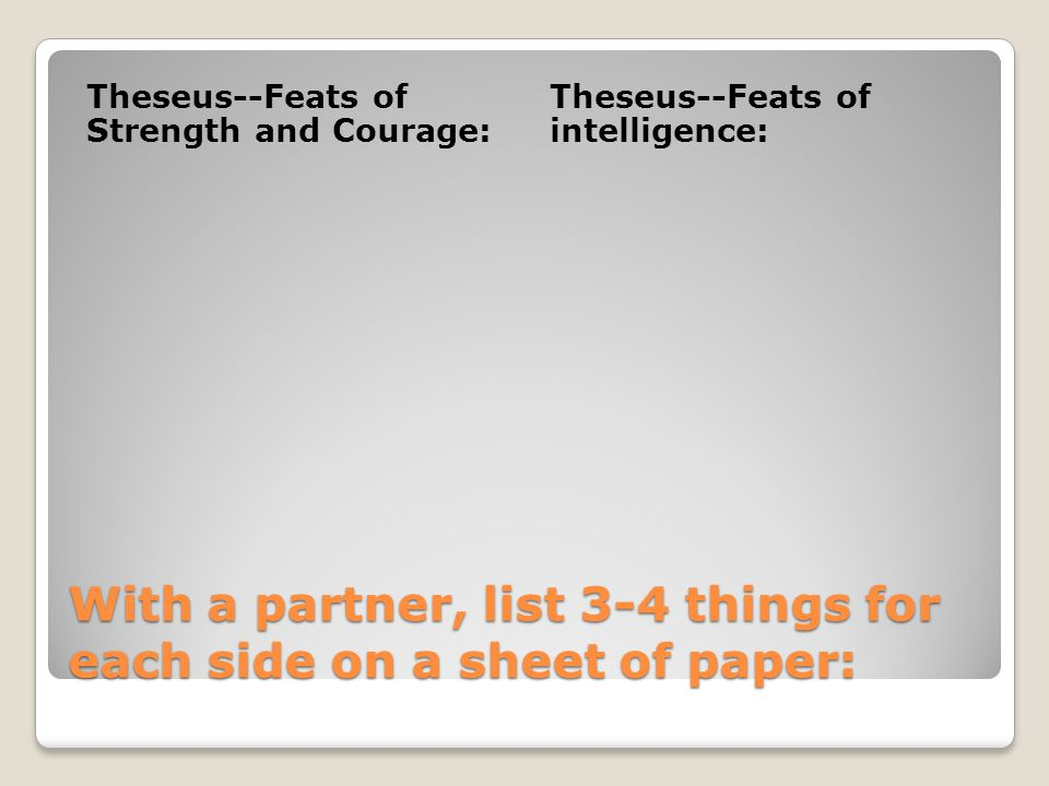 With a partner, list 3-4 things for each side on a sheet of paper: