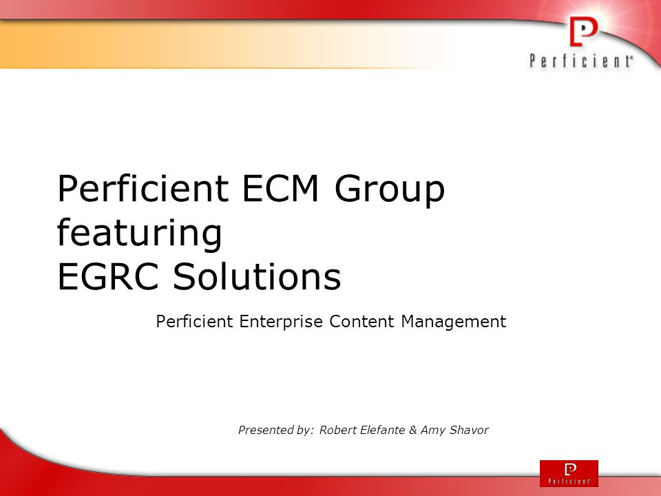 Perficient ECM Group featuring EGRC Solutions