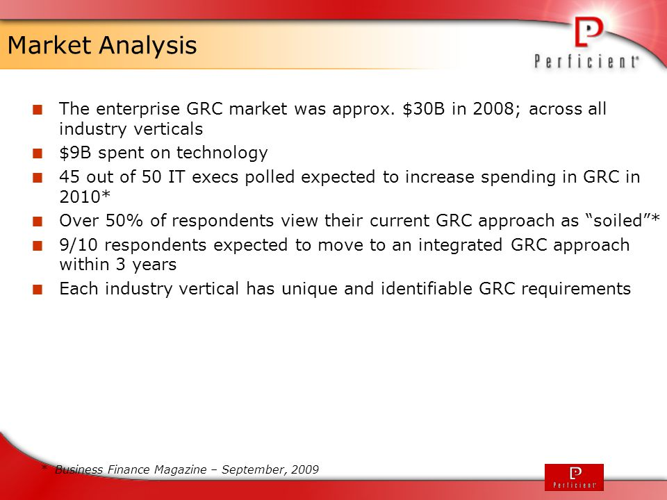 Market Analysis The enterprise GRC market was approx. $30B in 2008; across all industry verticals. $9B spent on technology.