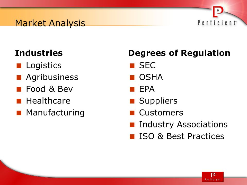 Market Analysis Industries Degrees of Regulation Logistics