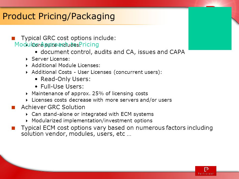 Product Pricing/Packaging
