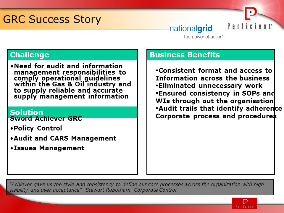 GRC Success Story Challenge Business Benefits Solution