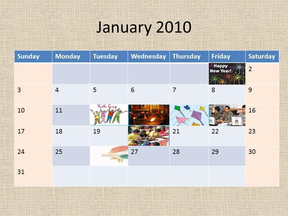 January 2010 Sunday Monday Tuesday Wednesday Thursday Friday Saturday