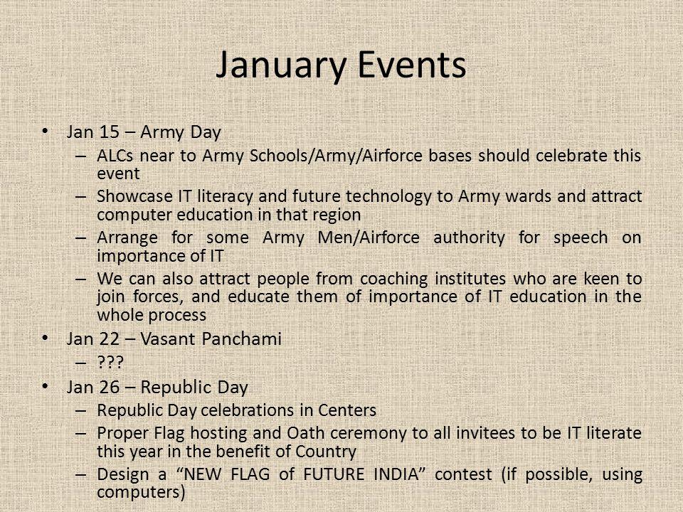 January Events Jan 15 – Army Day Jan 22 – Vasant Panchami