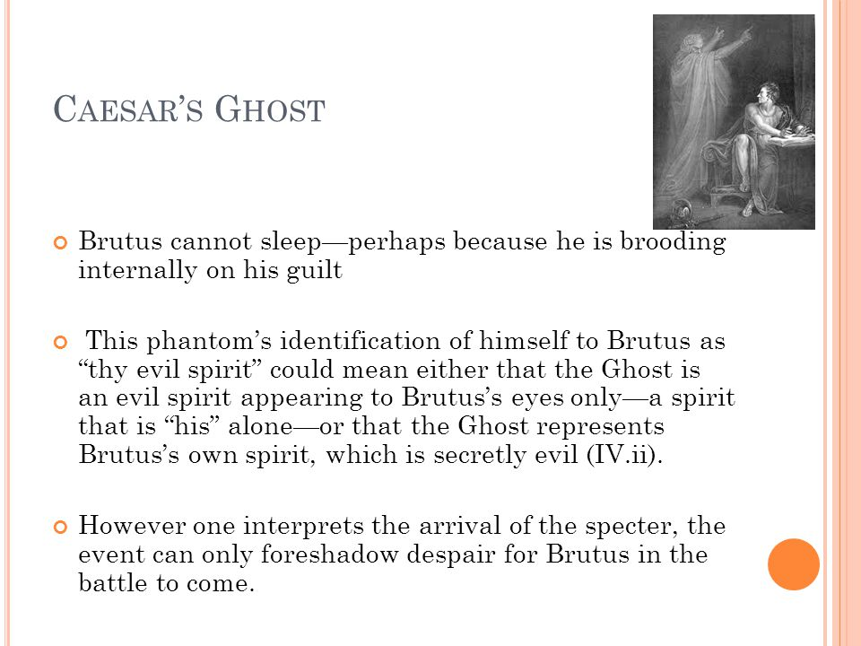Caesar's Ghost Brutus cannot sleep—perhaps because he is brooding internally on his guilt.