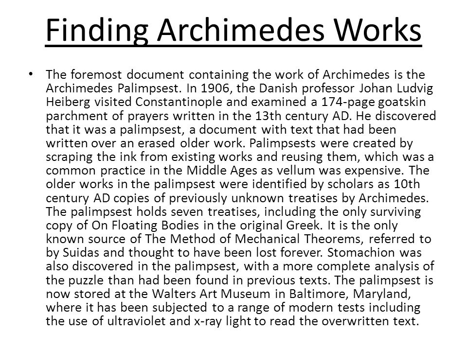 Finding Archimedes Works