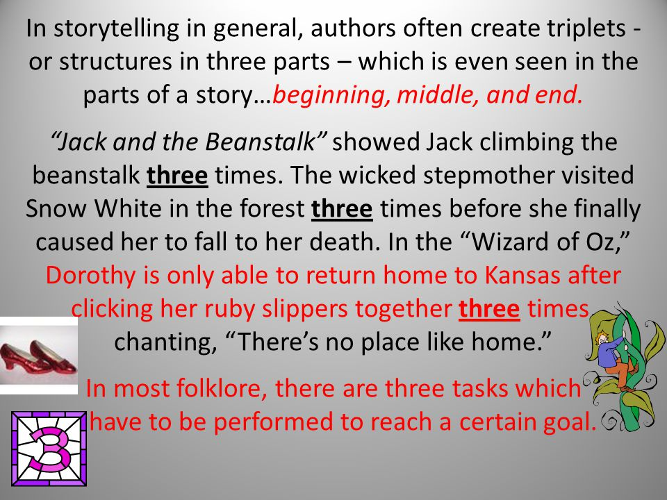 In storytelling in general, authors often create triplets - or structures in three parts – which is even seen in the parts of a story…beginning, middle, and end.