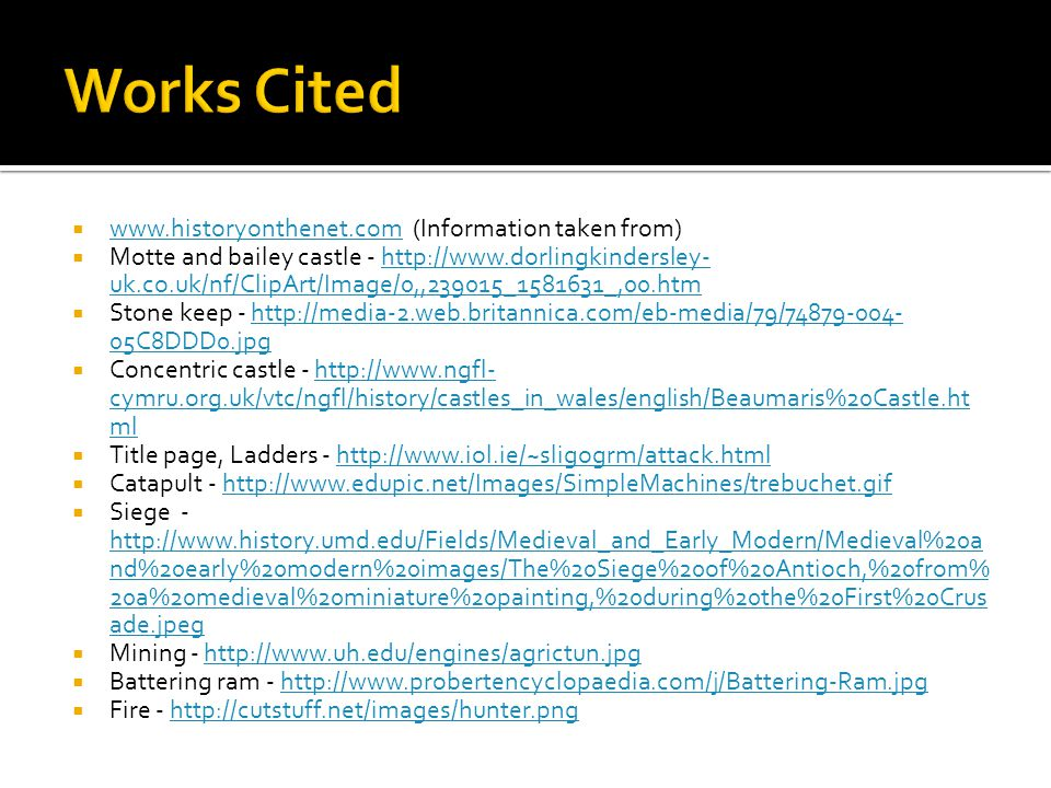 Works Cited www.historyonthenet.com (Information taken from)