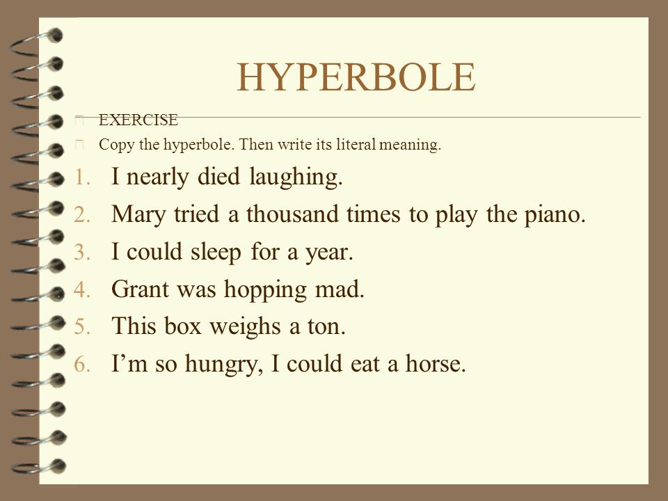 HYPERBOLE I nearly died laughing.
