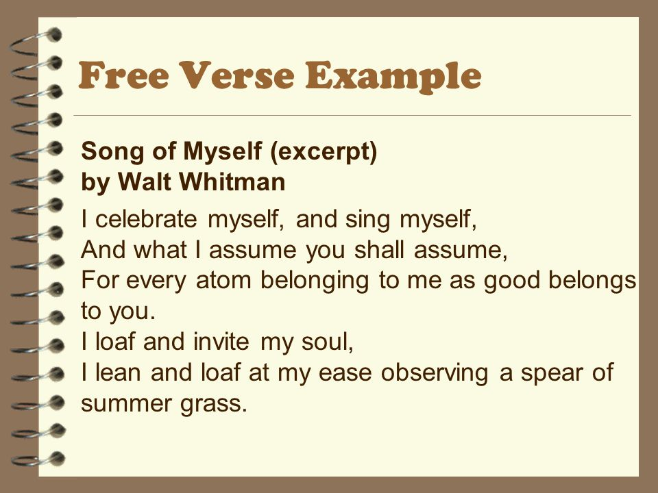 Free Verse Example Song of Myself (excerpt) by Walt Whitman