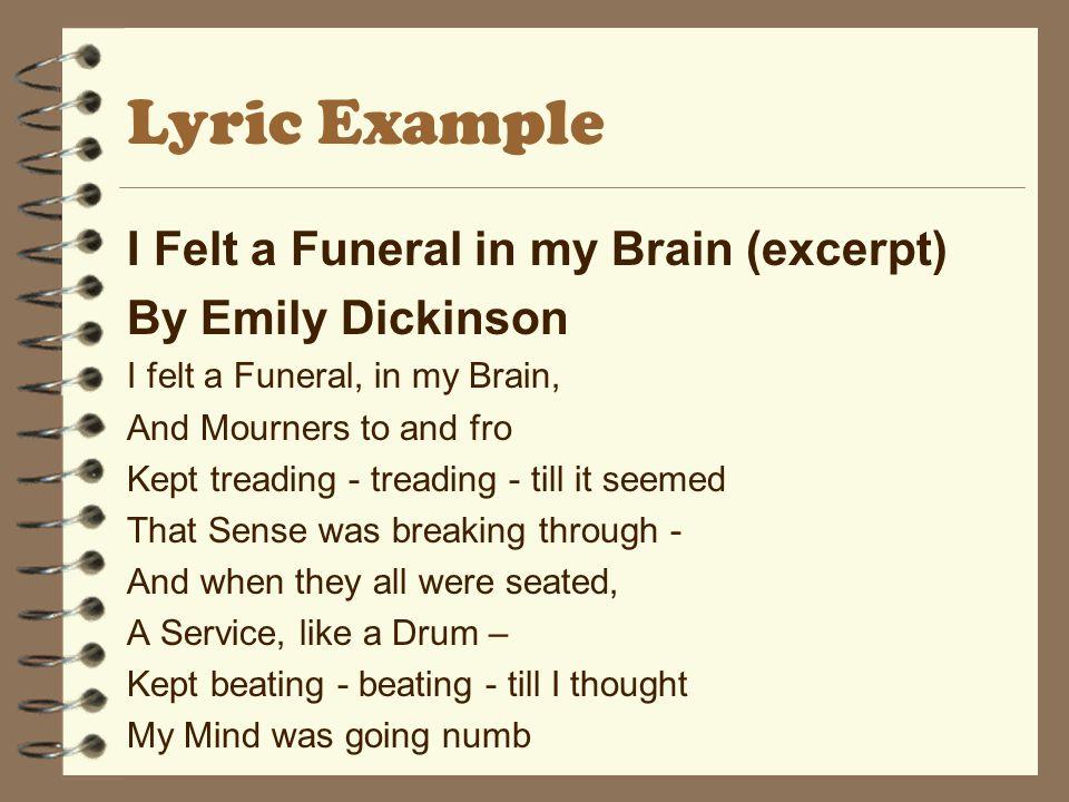 Lyric Example I Felt a Funeral in my Brain (excerpt)