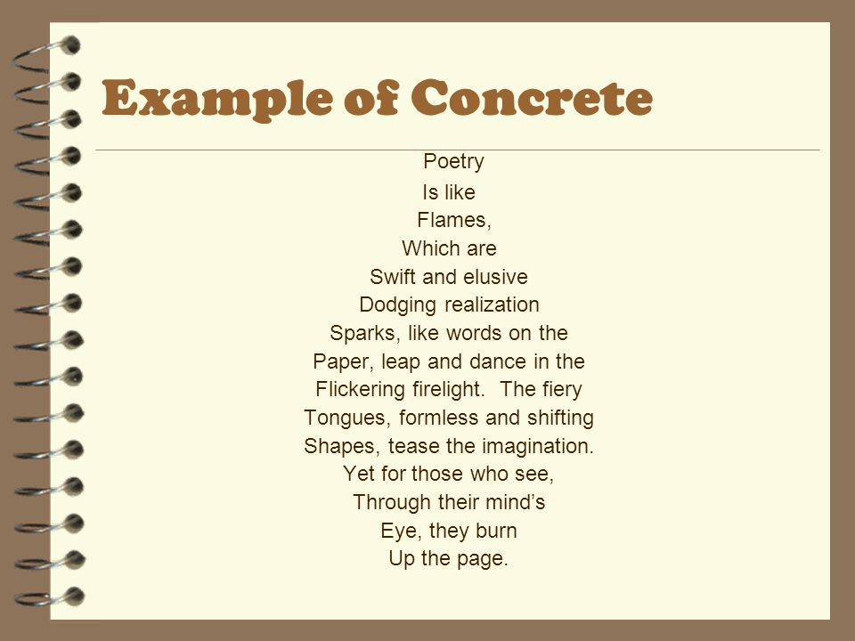 Example of Concrete Poetry Is like Flames, Which are Swift and elusive
