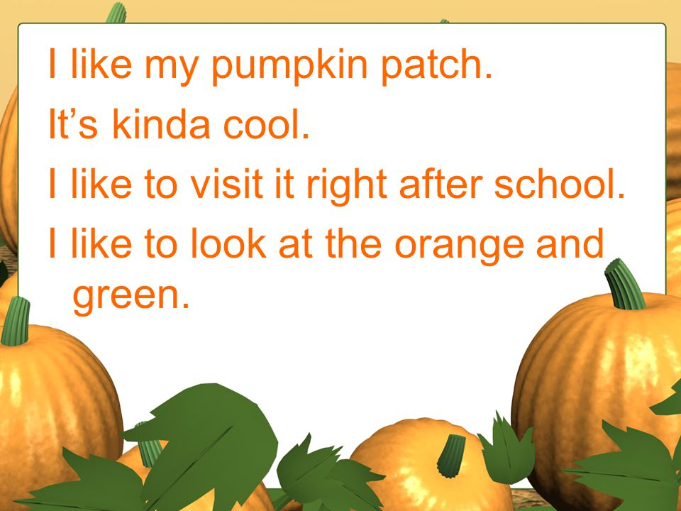 I like my pumpkin patch. It's kinda cool. I like to visit it right after school.