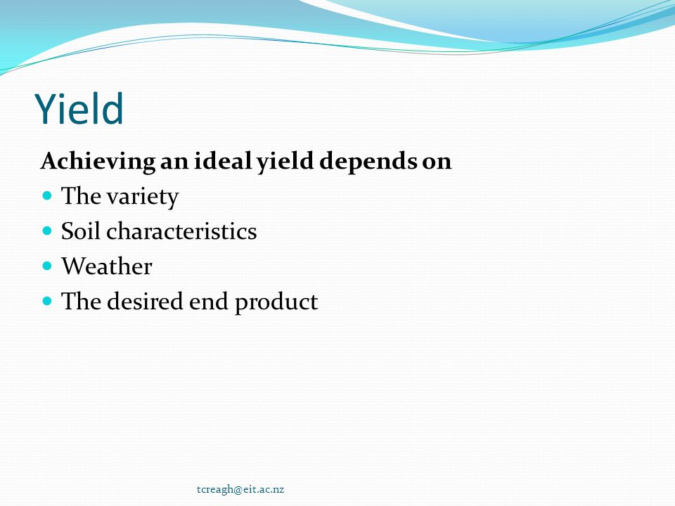 Yield Achieving an ideal yield depends on The variety