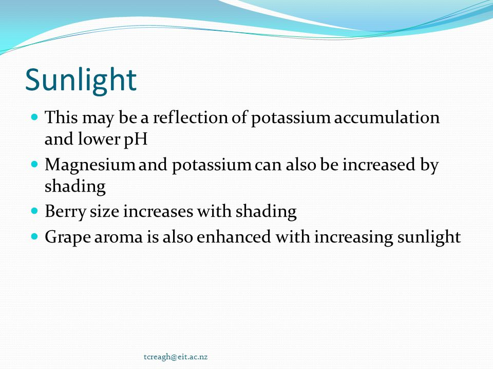 Sunlight This may be a reflection of potassium accumulation and lower pH. Magnesium and potassium can also be increased by shading.