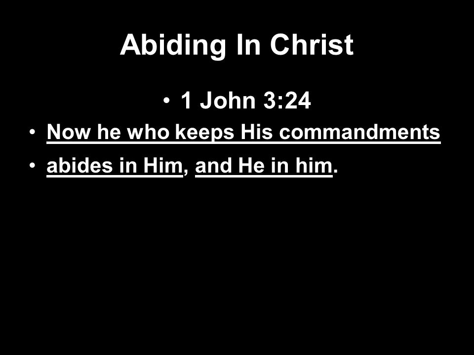 Abiding In Christ 1 John 3:24 Now he who keeps His commandments